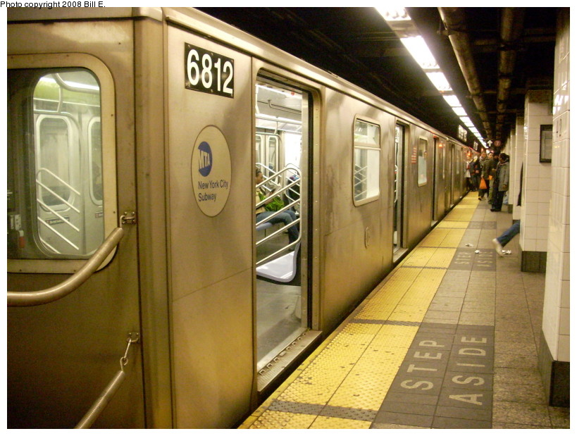 (183k, 819x619)<br><b>Country:</b> United States<br><b>City:</b> New York<br><b>System:</b> New York City Transit<br><b>Line:</b> IRT East Side Line<br><b>Location:</b> Grand Central <br><b>Route:</b> 5<br><b>Car:</b> R-142 (Primary Order, Bombardier, 1999-2002)  6812 <br><b>Photo by:</b> Bill E.<br><b>Date:</b> 2/3/2008<br><b>Viewed (this week/total):</b> 3 / 2694