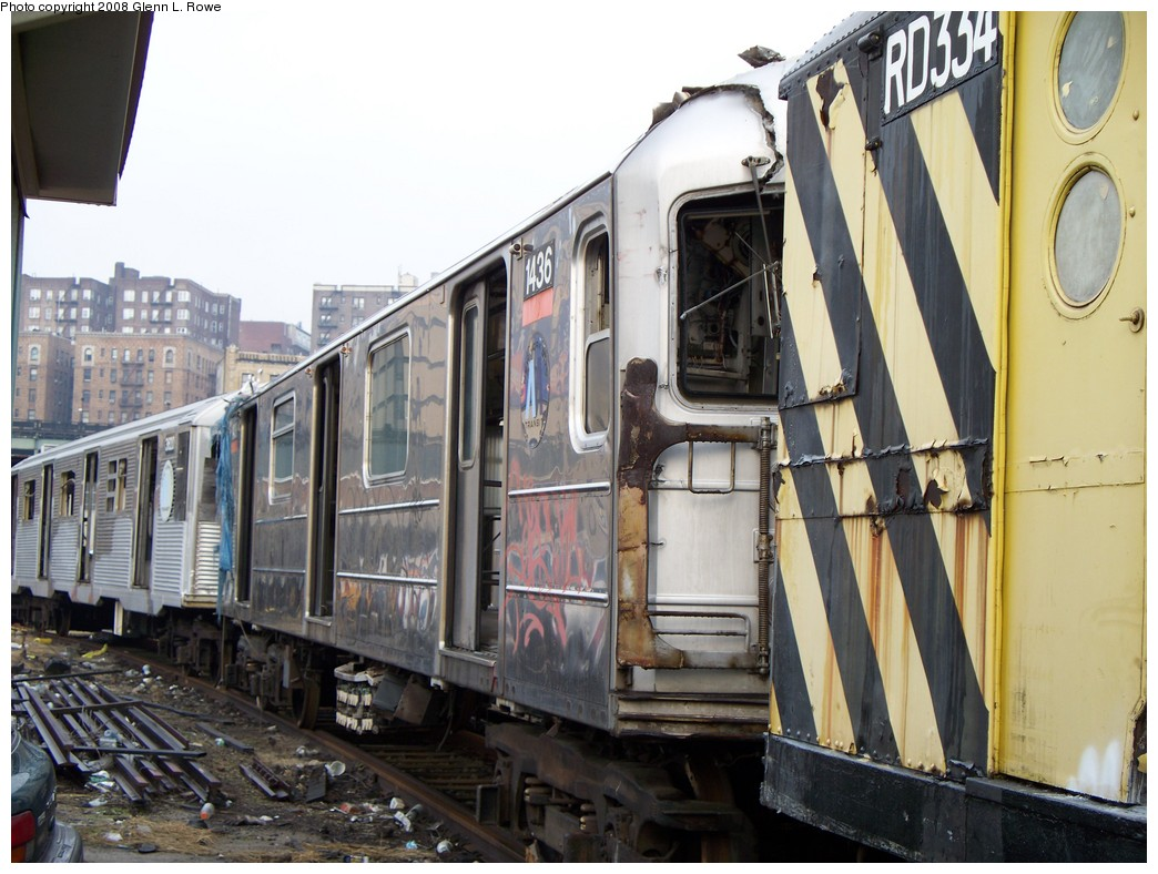 (221k, 1044x788)<br><b>Country:</b> United States<br><b>City:</b> New York<br><b>System:</b> New York City Transit<br><b>Location:</b> 207th Street Yard<br><b>Car:</b> R-62 (Kawasaki, 1983-1985)  1436 <br><b>Photo by:</b> Glenn L. Rowe<br><b>Date:</b> 2/6/2008<br><b>Viewed (this week/total):</b> 0 / 2483