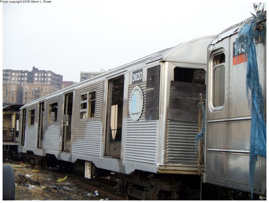 (195k, 1044x788)<br><b>Country:</b> United States<br><b>City:</b> New York<br><b>System:</b> New York City Transit<br><b>Location:</b> 207th Street Yard<br><b>Car:</b> R-32 (Budd, 1964)  3620 <br><b>Photo by:</b> Glenn L. Rowe<br><b>Date:</b> 2/6/2008<br><b>Viewed (this week/total):</b> 0 / 2264