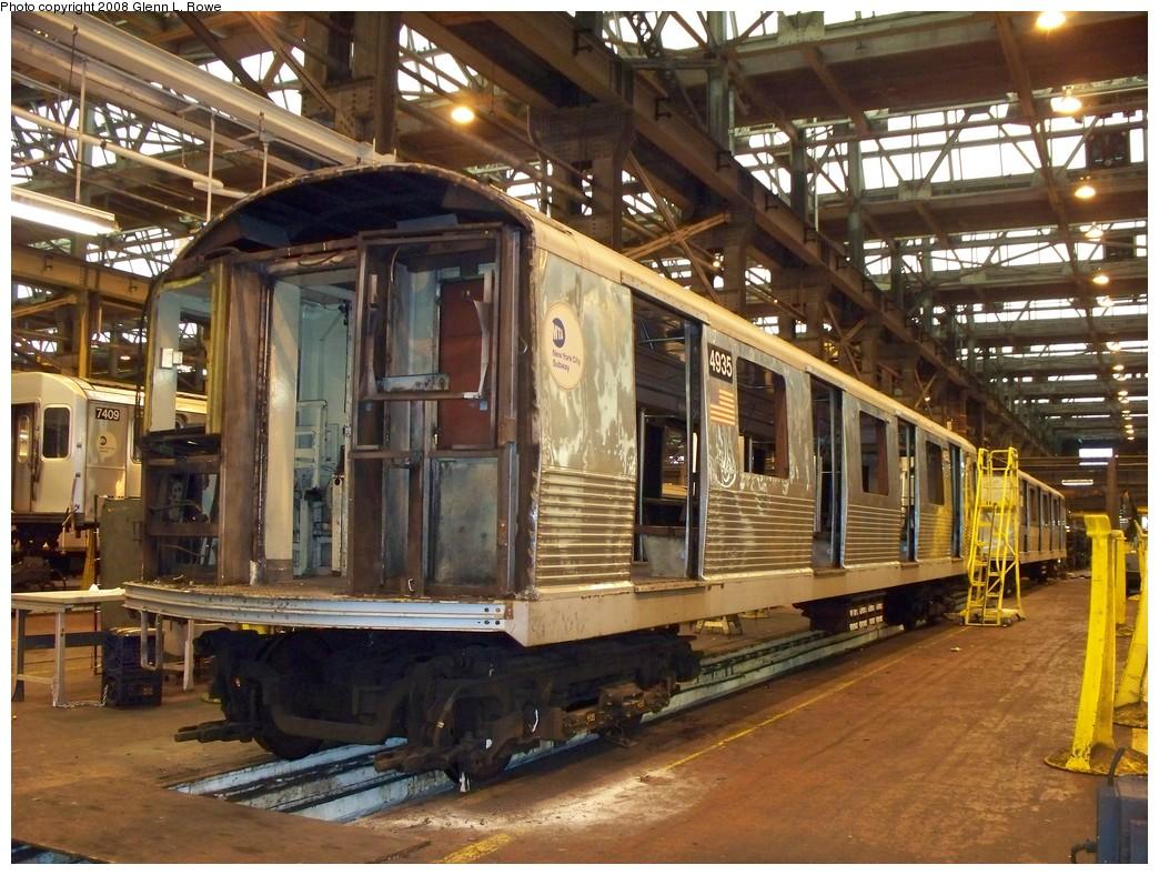 (276k, 1044x788)<br><b>Country:</b> United States<br><b>City:</b> New York<br><b>System:</b> New York City Transit<br><b>Location:</b> 207th Street Shop<br><b>Car:</b> R-42 (St. Louis, 1969-1970)  4935 <br><b>Photo by:</b> Glenn L. Rowe<br><b>Date:</b> 2/6/2008<br><b>Viewed (this week/total):</b> 0 / 1415