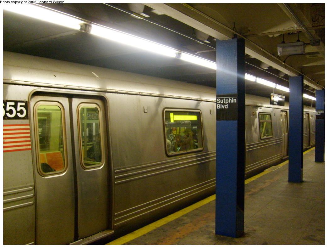 (257k, 1044x788)<br><b>Country:</b> United States<br><b>City:</b> New York<br><b>System:</b> New York City Transit<br><b>Line:</b> IND Queens Boulevard Line<br><b>Location:</b> Sutphin Boulevard <br><b>Route:</b> F<br><b>Car:</b> R-46 (Pullman-Standard, 1974-75) 5655 <br><b>Photo by:</b> Leonard Wilson<br><b>Date:</b> 1/23/2008<br><b>Viewed (this week/total):</b> 1 / 3488