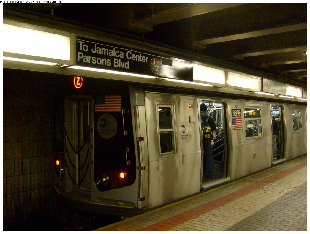 (241k, 1044x788)<br><b>Country:</b> United States<br><b>City:</b> New York<br><b>System:</b> New York City Transit<br><b>Line:</b> BMT Nassau Street/Jamaica Line<br><b>Location:</b> Sutphin Blvd.-Archer Ave./JFK <br><b>Route:</b> Z<br><b>Car:</b> R-160A-1 (Alstom, 2005-2008, 4 car sets)  8316 <br><b>Photo by:</b> Leonard Wilson<br><b>Date:</b> 1/23/2008<br><b>Viewed (this week/total):</b> 1 / 3628