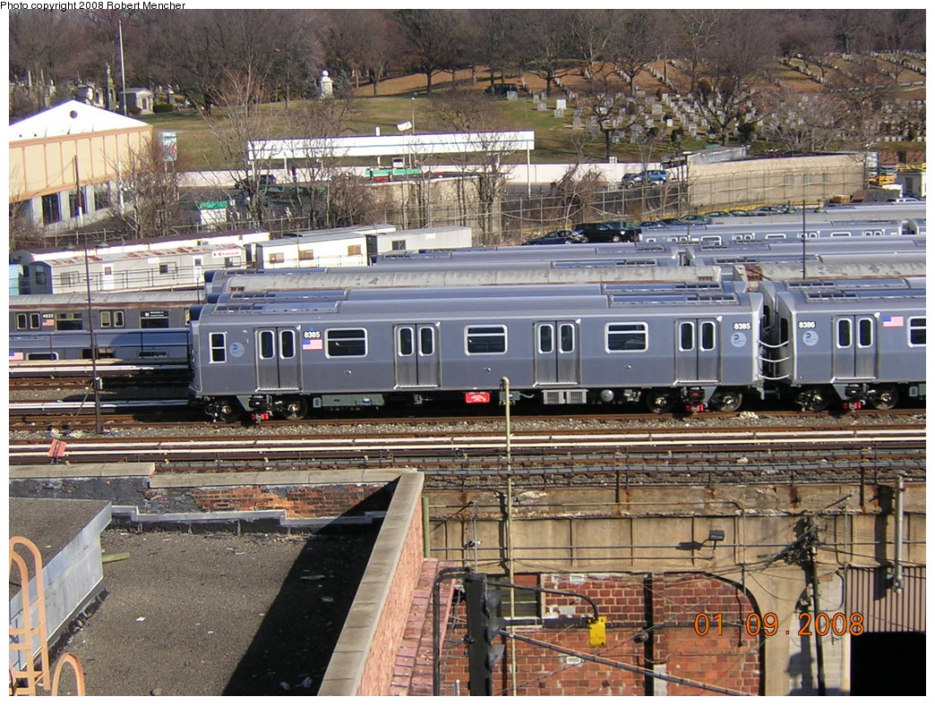 (352k, 1044x788)<br><b>Country:</b> United States<br><b>City:</b> New York<br><b>System:</b> New York City Transit<br><b>Location:</b> East New York Yard/Shops<br><b>Car:</b> R-160A-1 (Alstom, 2005-2008, 4 car sets)  8395 <br><b>Photo by:</b> Robert Mencher<br><b>Date:</b> 1/9/2008<br><b>Viewed (this week/total):</b> 1 / 1704
