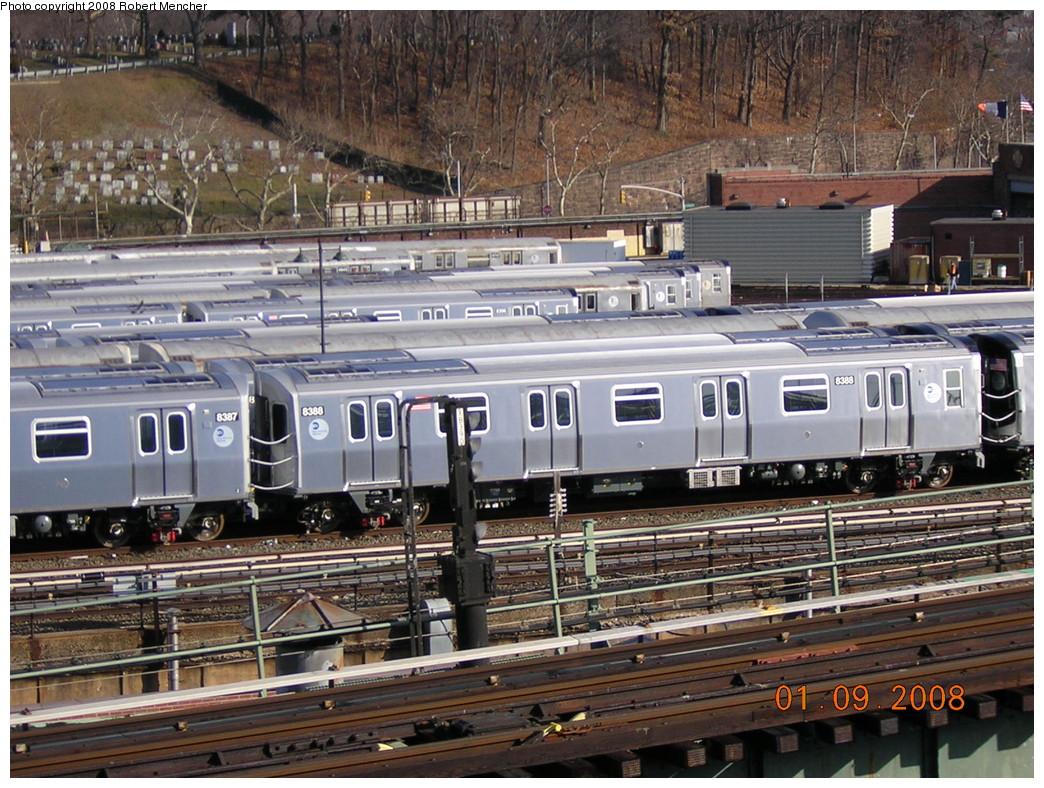 (320k, 1044x788)<br><b>Country:</b> United States<br><b>City:</b> New York<br><b>System:</b> New York City Transit<br><b>Location:</b> East New York Yard/Shops<br><b>Car:</b> R-160A-1 (Alstom, 2005-2008, 4 car sets)  8388 <br><b>Photo by:</b> Robert Mencher<br><b>Date:</b> 1/9/2008<br><b>Viewed (this week/total):</b> 0 / 1515