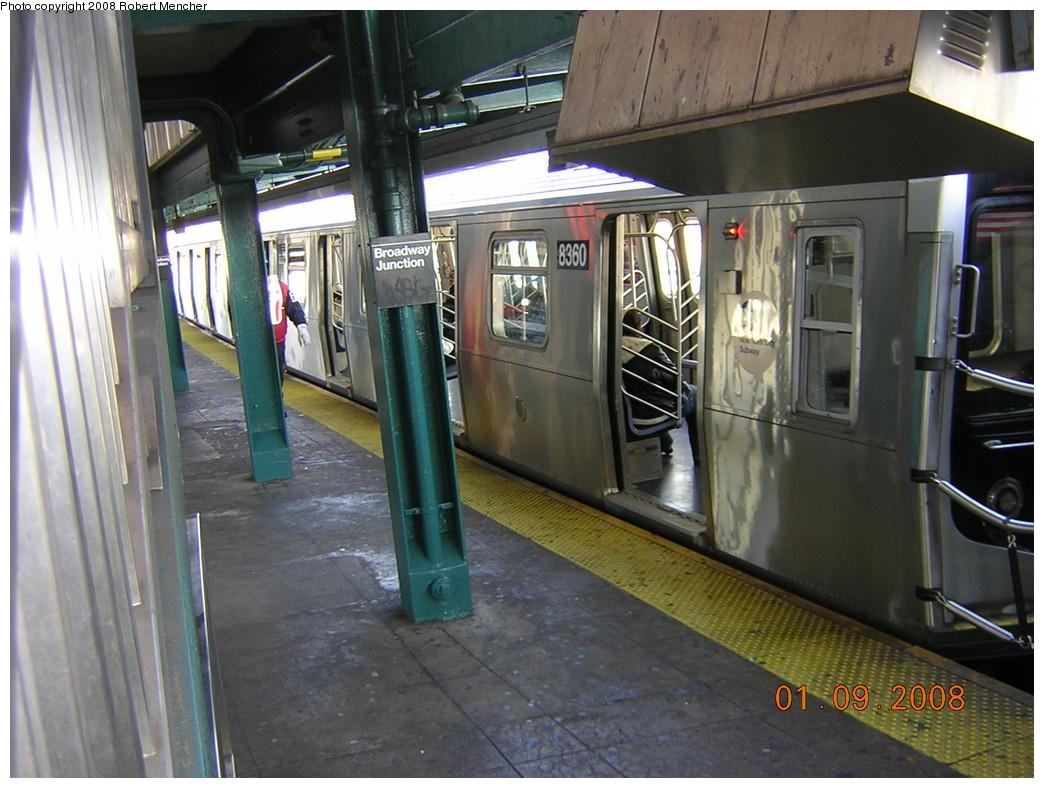 (253k, 1044x788)<br><b>Country:</b> United States<br><b>City:</b> New York<br><b>System:</b> New York City Transit<br><b>Line:</b> BMT Canarsie Line<br><b>Location:</b> Broadway Junction <br><b>Route:</b> L<br><b>Car:</b> R-160A-1 (Alstom, 2005-2008, 4 car sets)  8360 <br><b>Photo by:</b> Robert Mencher<br><b>Date:</b> 1/9/2008<br><b>Viewed (this week/total):</b> 3 / 2395