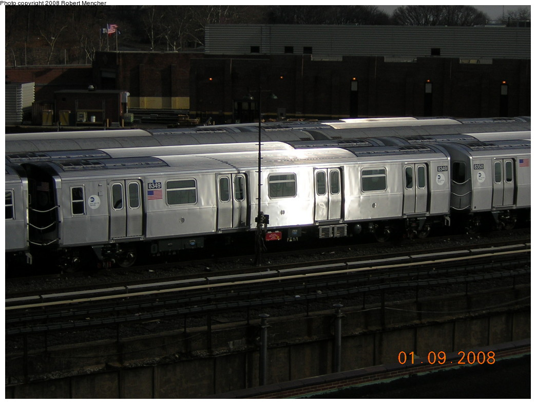 (207k, 1044x788)<br><b>Country:</b> United States<br><b>City:</b> New York<br><b>System:</b> New York City Transit<br><b>Location:</b> East New York Yard/Shops<br><b>Car:</b> R-160A-1 (Alstom, 2005-2008, 4 car sets)  8349 <br><b>Photo by:</b> Robert Mencher<br><b>Date:</b> 1/9/2008<br><b>Viewed (this week/total):</b> 2 / 1397