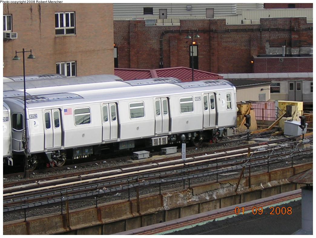 (263k, 1044x788)<br><b>Country:</b> United States<br><b>City:</b> New York<br><b>System:</b> New York City Transit<br><b>Location:</b> East New York Yard/Shops<br><b>Car:</b> R-160A-1 (Alstom, 2005-2008, 4 car sets)  8352 <br><b>Photo by:</b> Robert Mencher<br><b>Date:</b> 1/9/2008<br><b>Viewed (this week/total):</b> 0 / 1496