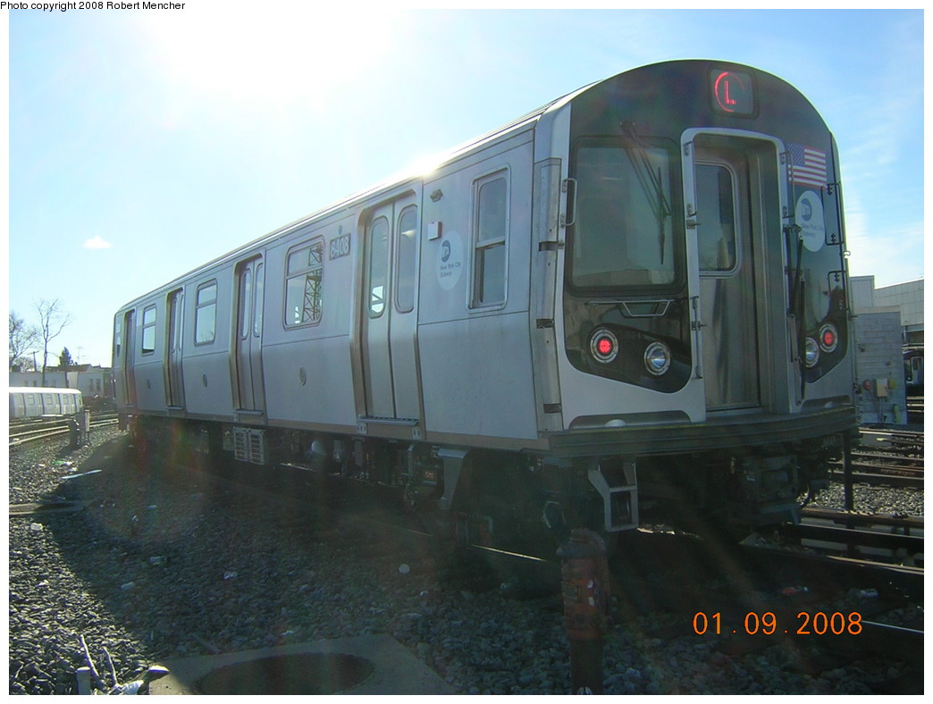 (209k, 1044x788)<br><b>Country:</b> United States<br><b>City:</b> New York<br><b>System:</b> New York City Transit<br><b>Location:</b> Rockaway Parkway (Canarsie) Yard<br><b>Car:</b> R-160A-1 (Alstom, 2005-2008, 4 car sets)  8408 <br><b>Photo by:</b> Robert Mencher<br><b>Date:</b> 1/9/2008<br><b>Viewed (this week/total):</b> 1 / 2593