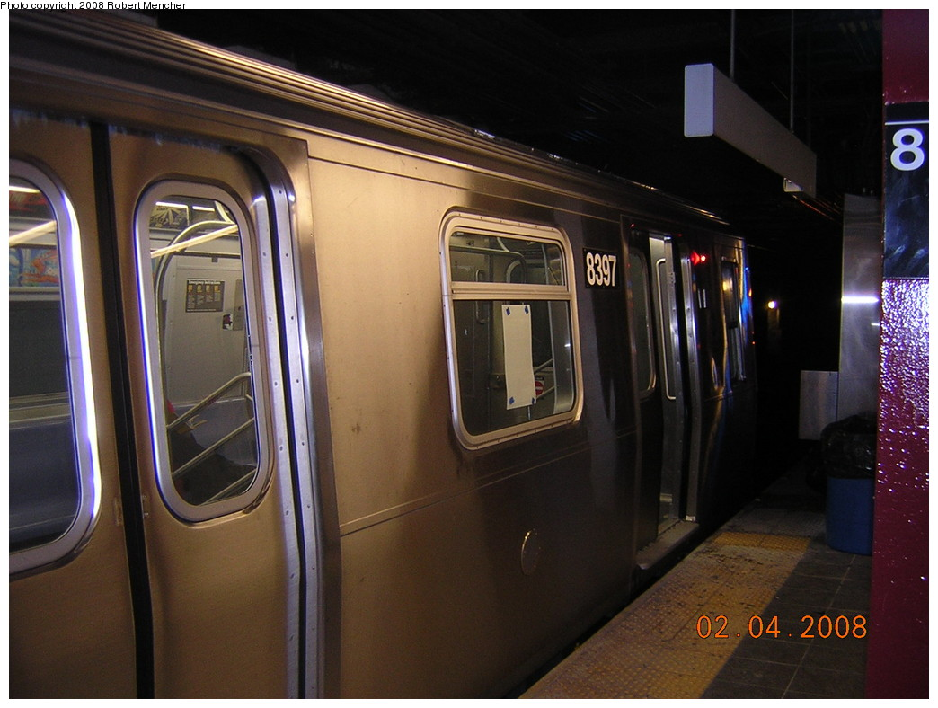 (228k, 1044x788)<br><b>Country:</b> United States<br><b>City:</b> New York<br><b>System:</b> New York City Transit<br><b>Line:</b> BMT Canarsie Line<br><b>Location:</b> 8th Avenue <br><b>Route:</b> L<br><b>Car:</b> R-160A-1 (Alstom, 2005-2008, 4 car sets)  8398 <br><b>Photo by:</b> Robert Mencher<br><b>Date:</b> 2/4/2008<br><b>Viewed (this week/total):</b> 4 / 1911