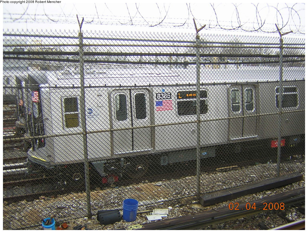 (426k, 1044x788)<br><b>Country:</b> United States<br><b>City:</b> New York<br><b>System:</b> New York City Transit<br><b>Location:</b> Rockaway Parkway (Canarsie) Yard<br><b>Car:</b> R-160A-1 (Alstom, 2005-2008, 4 car sets)  8385 <br><b>Photo by:</b> Robert Mencher<br><b>Date:</b> 2/4/2008<br><b>Viewed (this week/total):</b> 0 / 2411