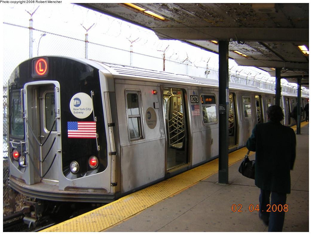 (246k, 1044x788)<br><b>Country:</b> United States<br><b>City:</b> New York<br><b>System:</b> New York City Transit<br><b>Line:</b> BMT Canarsie Line<br><b>Location:</b> Rockaway Parkway <br><b>Route:</b> L<br><b>Car:</b> R-143 (Kawasaki, 2001-2002) 8273 <br><b>Photo by:</b> Robert Mencher<br><b>Date:</b> 2/4/2008<br><b>Viewed (this week/total):</b> 2 / 2224