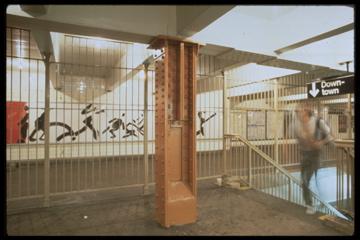 (47k, 360x240)<br><b>Country:</b> United States<br><b>City:</b> New York<br><b>System:</b> New York City Transit<br><b>Line:</b> IND 8th Avenue Line<br><b>Location:</b> 14th Street <br><b>Photo by:</b> Ross Lewis<br><b>Artwork:</b> <i>Parallel Motion</i>, Ross Lewis (1989).<br><b>Viewed (this week/total):</b> 0 / 1948