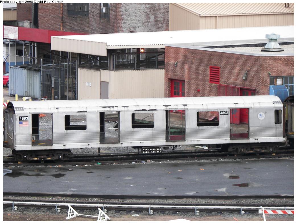 (286k, 1044x788)<br><b>Country:</b> United States<br><b>City:</b> New York<br><b>System:</b> New York City Transit<br><b>Location:</b> 207th Street Yard<br><b>Car:</b> R-42 (St. Louis, 1969-1970)  4893 <br><b>Photo by:</b> David-Paul Gerber<br><b>Date:</b> 2/18/2008<br><b>Notes:</b> Scrap<br><b>Viewed (this week/total):</b> 0 / 1178