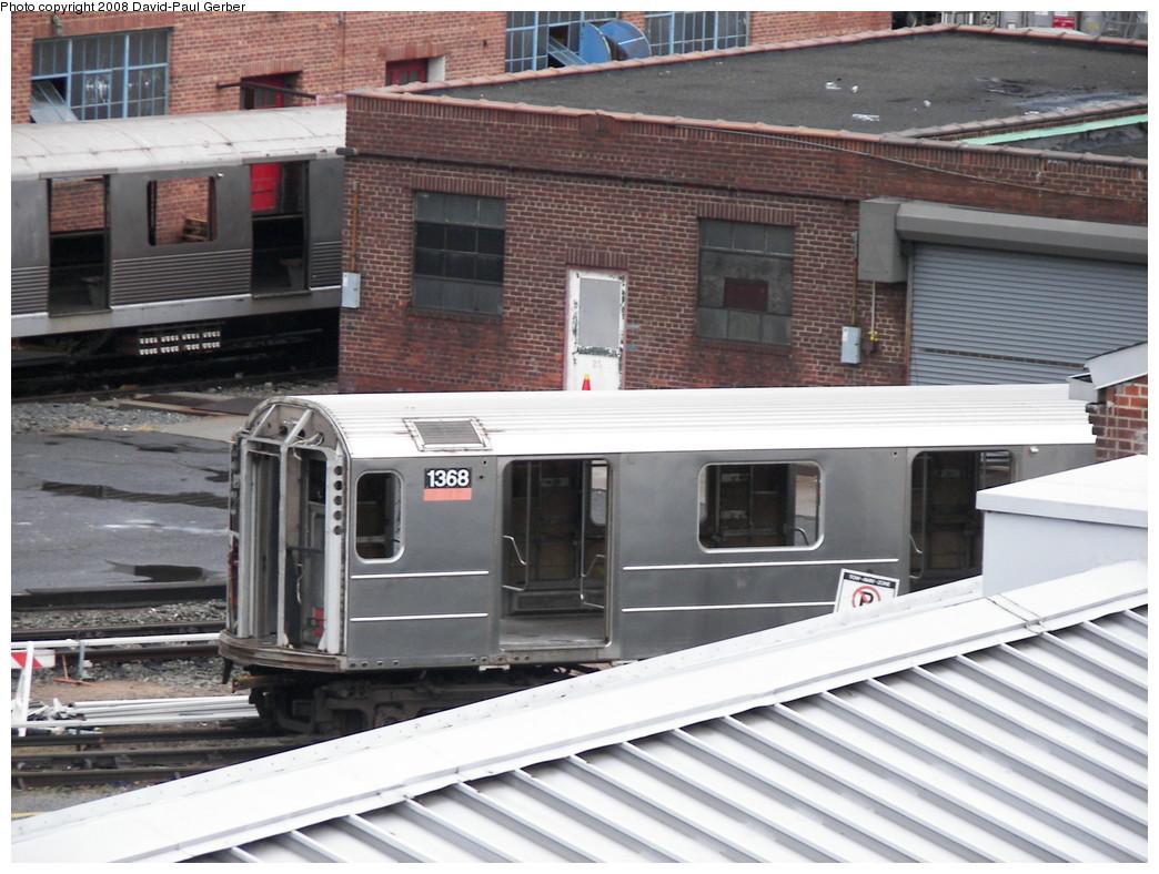 (275k, 1044x788)<br><b>Country:</b> United States<br><b>City:</b> New York<br><b>System:</b> New York City Transit<br><b>Location:</b> 207th Street Yard<br><b>Car:</b> R-62 (Kawasaki, 1983-1985)  1368 <br><b>Photo by:</b> David-Paul Gerber<br><b>Date:</b> 2/18/2008<br><b>Viewed (this week/total):</b> 6 / 3124