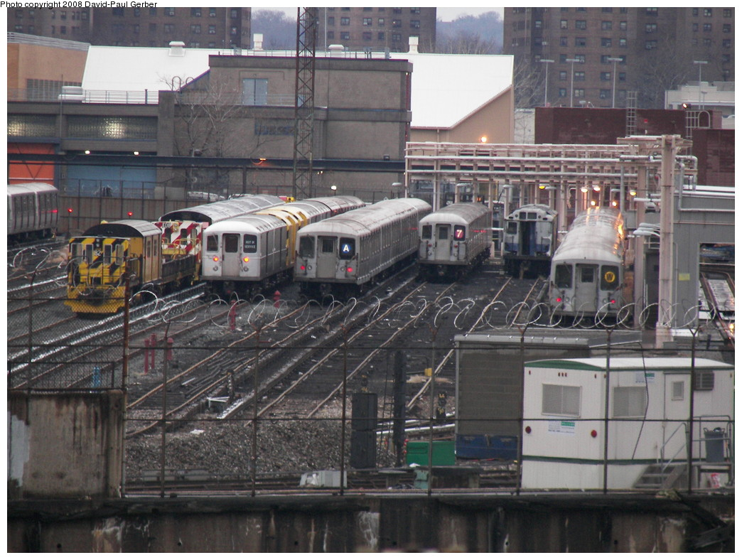(295k, 1044x788)<br><b>Country:</b> United States<br><b>City:</b> New York<br><b>System:</b> New York City Transit<br><b>Location:</b> 207th Street Yard<br><b>Photo by:</b> David-Paul Gerber<br><b>Date:</b> 2/18/2008<br><b>Notes:</b> L-R: Loco 82, R127/R134, R42 consist signed for A, R62A set from the 7, R12/R14 Xxxx?, R40M/R42 stored from W.<br><b>Viewed (this week/total):</b> 1 / 3126