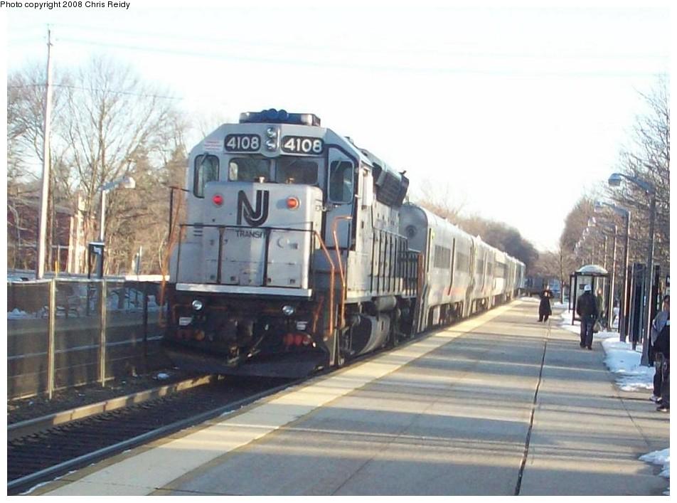 (161k, 952x707)<br><b>Country:</b> United States<br><b>System:</b> NJ Transit (or Predecessor)<br><b>Line:</b> NJT Main/Bergen Line<br><b>Location:</b> Ramsey<br><b>Car:</b> NJT GP40PH-2 4108 <br><b>Photo by:</b> Chris Reidy<br><b>Date:</b> 2/14/2008<br><b>Viewed (this week/total):</b> 0 / 1088