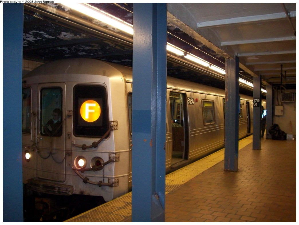 (197k, 1044x788)<br><b>Country:</b> United States<br><b>City:</b> New York<br><b>System:</b> New York City Transit<br><b>Line:</b> IND Queens Boulevard Line<br><b>Location:</b> 179th Street <br><b>Route:</b> F<br><b>Car:</b> R-46 (Pullman-Standard, 1974-75) 5868 <br><b>Photo by:</b> John Barnes<br><b>Date:</b> 2/11/2008<br><b>Viewed (this week/total):</b> 0 / 1946