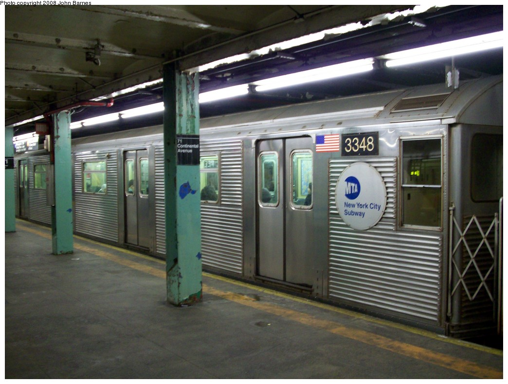 (205k, 1044x788)<br><b>Country:</b> United States<br><b>City:</b> New York<br><b>System:</b> New York City Transit<br><b>Line:</b> IND Queens Boulevard Line<br><b>Location:</b> 71st/Continental Aves./Forest Hills <br><b>Route:</b> E<br><b>Car:</b> R-32 (Budd, 1964)  3348 <br><b>Photo by:</b> John Barnes<br><b>Date:</b> 2/11/2008<br><b>Viewed (this week/total):</b> 0 / 2561
