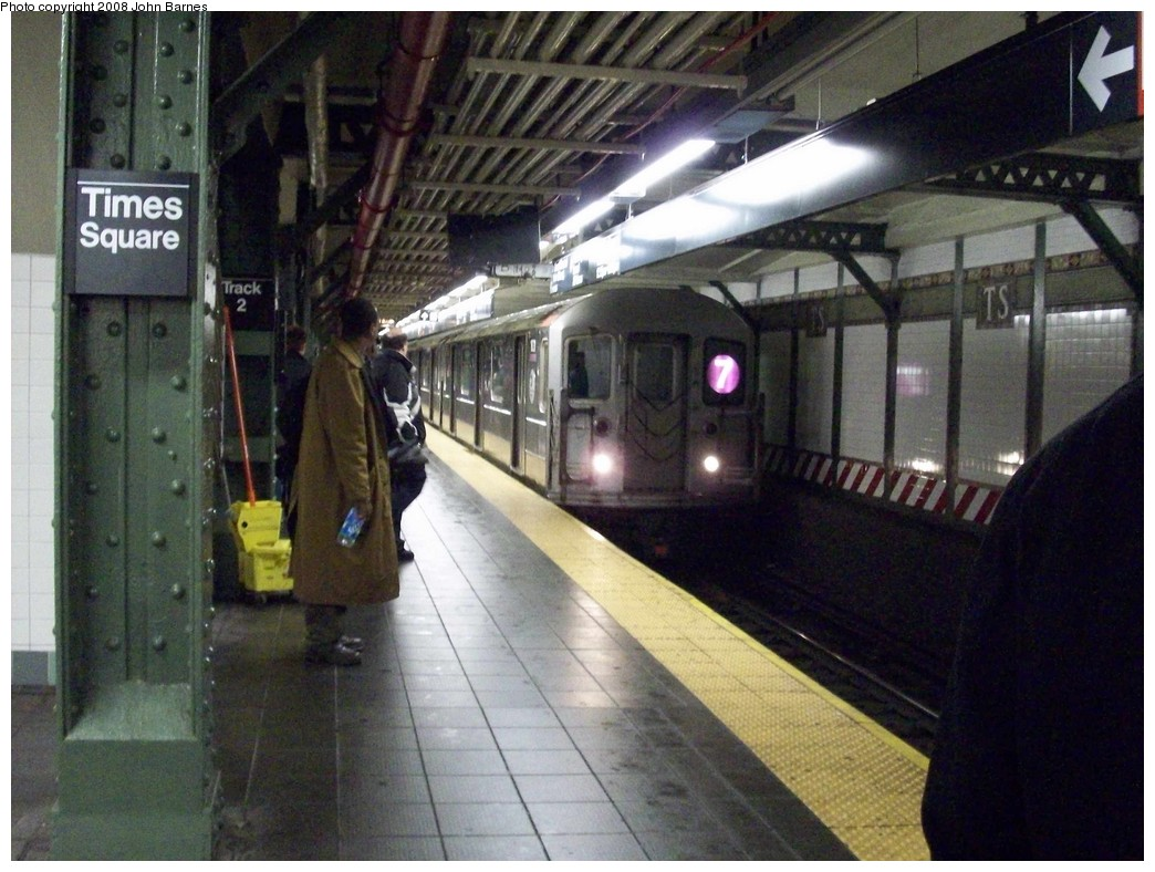 (223k, 1044x788)<br><b>Country:</b> United States<br><b>City:</b> New York<br><b>System:</b> New York City Transit<br><b>Line:</b> IRT Flushing Line<br><b>Location:</b> Times Square <br><b>Route:</b> 7<br><b>Car:</b> R-62A (Bombardier, 1984-1987)  1831 <br><b>Photo by:</b> John Barnes<br><b>Date:</b> 2/13/2008<br><b>Viewed (this week/total):</b> 3 / 2103