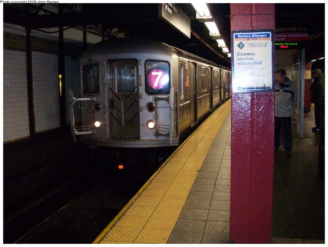 (208k, 1044x788)<br><b>Country:</b> United States<br><b>City:</b> New York<br><b>System:</b> New York City Transit<br><b>Line:</b> IRT Flushing Line<br><b>Location:</b> 5th Avenue <br><b>Route:</b> 7<br><b>Car:</b> R-62A (Bombardier, 1984-1987)  1666 <br><b>Photo by:</b> John Barnes<br><b>Date:</b> 2/13/2008<br><b>Viewed (this week/total):</b> 3 / 2215