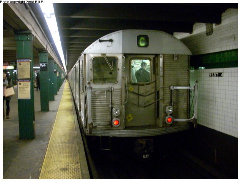 (166k, 819x619)<br><b>Country:</b> United States<br><b>City:</b> New York<br><b>System:</b> New York City Transit<br><b>Line:</b> IND 8th Avenue Line<br><b>Location:</b> West 4th Street/Washington Square <br><b>Route:</b> C<br><b>Car:</b> R-32 (Budd, 1964)   <br><b>Photo by:</b> Bill E.<br><b>Date:</b> 2/19/2008<br><b>Viewed (this week/total):</b> 1 / 1921