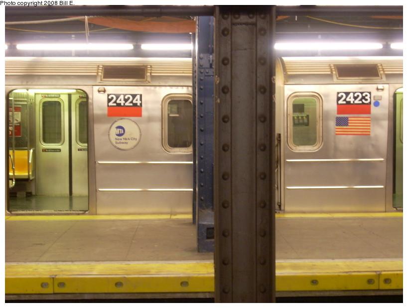 (140k, 819x619)<br><b>Country:</b> United States<br><b>City:</b> New York<br><b>System:</b> New York City Transit<br><b>Line:</b> IRT West Side Line<br><b>Location:</b> Chambers Street <br><b>Route:</b> 1<br><b>Car:</b> R-62A (Bombardier, 1984-1987)  2424/2423 <br><b>Photo by:</b> Bill E.<br><b>Date:</b> 2/10/2008<br><b>Viewed (this week/total):</b> 5 / 2549