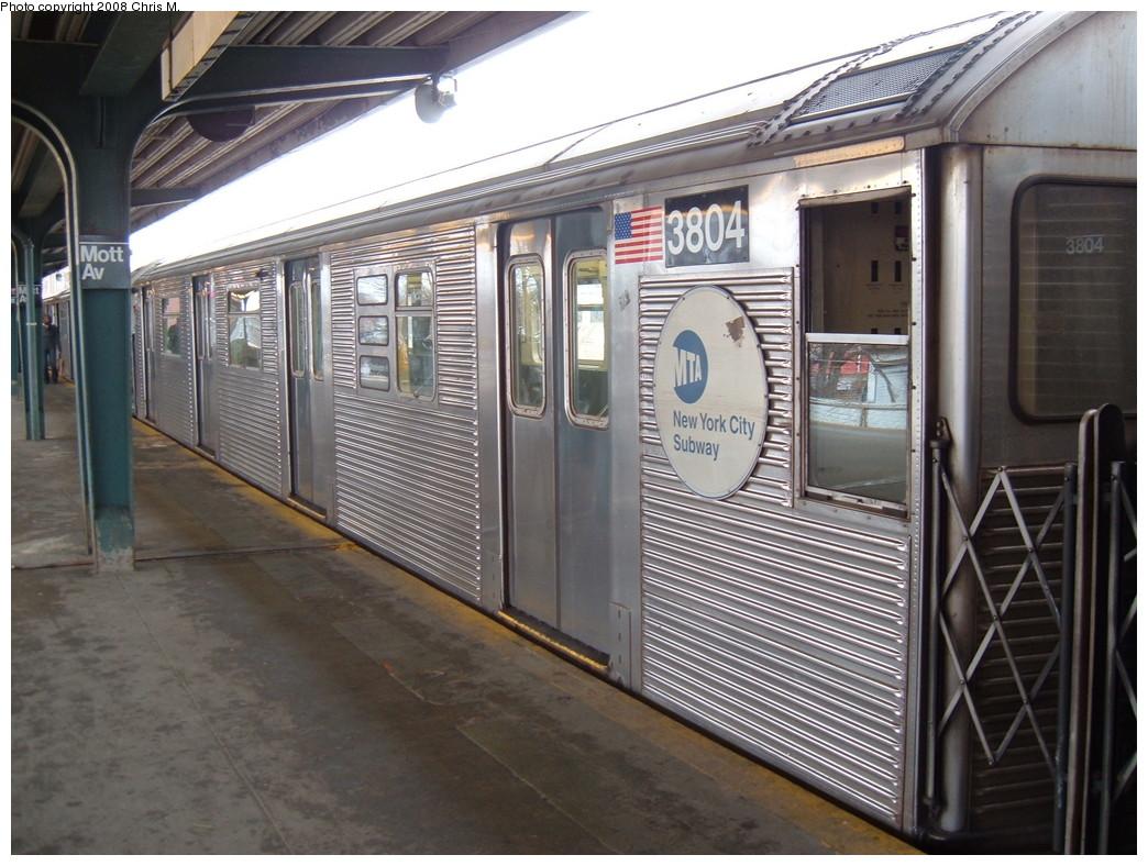 (237k, 1044x788)<br><b>Country:</b> United States<br><b>City:</b> New York<br><b>System:</b> New York City Transit<br><b>Line:</b> IND Rockaway<br><b>Location:</b> Mott Avenue/Far Rockaway <br><b>Route:</b> A<br><b>Car:</b> R-32 (Budd, 1964)  3804 <br><b>Photo by:</b> Chris M.<br><b>Date:</b> 2/17/2008<br><b>Viewed (this week/total):</b> 3 / 1535