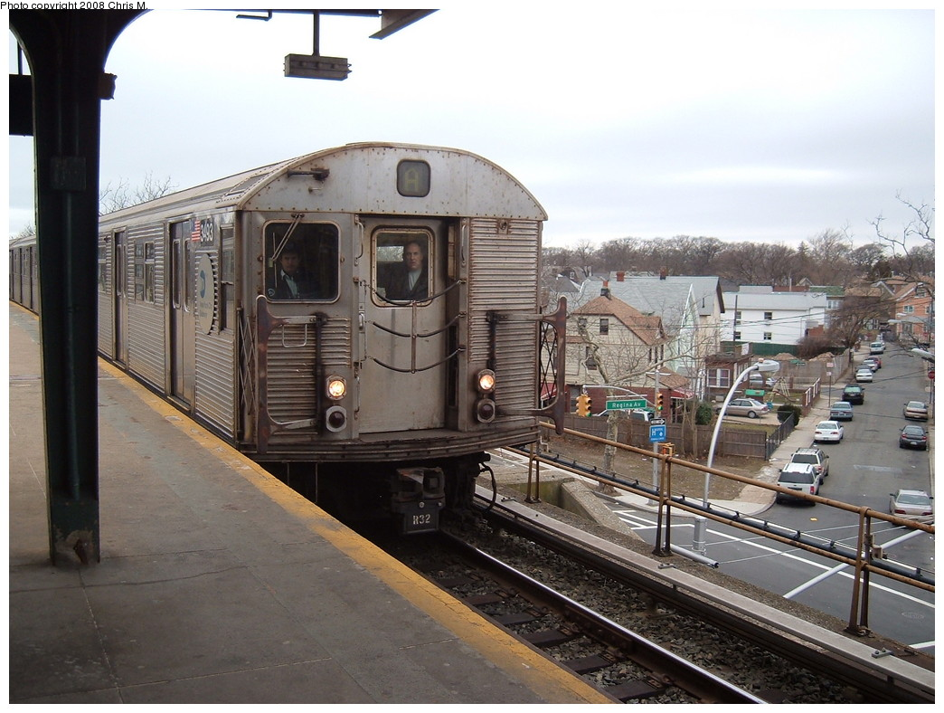 (232k, 1044x788)<br><b>Country:</b> United States<br><b>City:</b> New York<br><b>System:</b> New York City Transit<br><b>Line:</b> IND Rockaway<br><b>Location:</b> Mott Avenue/Far Rockaway <br><b>Route:</b> A<br><b>Car:</b> R-32 (Budd, 1964)  3493 <br><b>Photo by:</b> Chris M.<br><b>Date:</b> 2/17/2008<br><b>Viewed (this week/total):</b> 0 / 1818