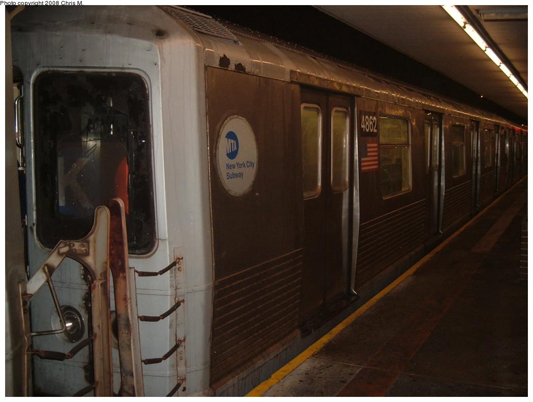 (185k, 1044x788)<br><b>Country:</b> United States<br><b>City:</b> New York<br><b>System:</b> New York City Transit<br><b>Line:</b> BMT Myrtle Avenue Line<br><b>Location:</b> Metropolitan Avenue <br><b>Route:</b> J Reroute<br><b>Car:</b> R-42 (St. Louis, 1969-1970)  4862 <br><b>Photo by:</b> Chris M.<br><b>Date:</b> 2/17/2008<br><b>Viewed (this week/total):</b> 0 / 2007