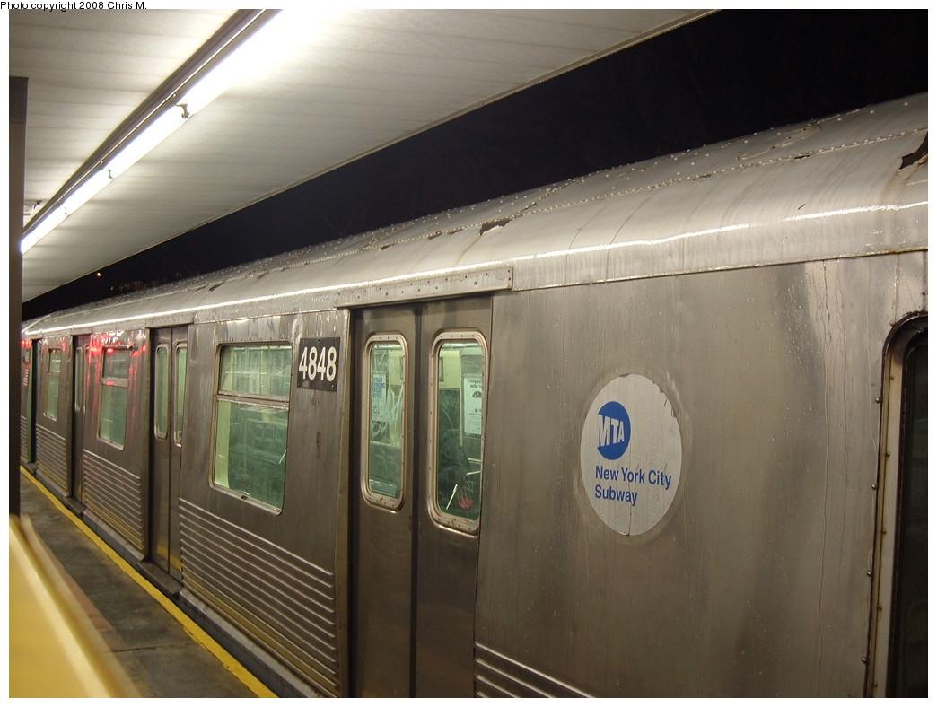 (196k, 1044x788)<br><b>Country:</b> United States<br><b>City:</b> New York<br><b>System:</b> New York City Transit<br><b>Line:</b> BMT Myrtle Avenue Line<br><b>Location:</b> Metropolitan Avenue <br><b>Route:</b> J Reroute<br><b>Car:</b> R-42 (St. Louis, 1969-1970)  4848 <br><b>Photo by:</b> Chris M.<br><b>Date:</b> 2/17/2008<br><b>Viewed (this week/total):</b> 1 / 1890