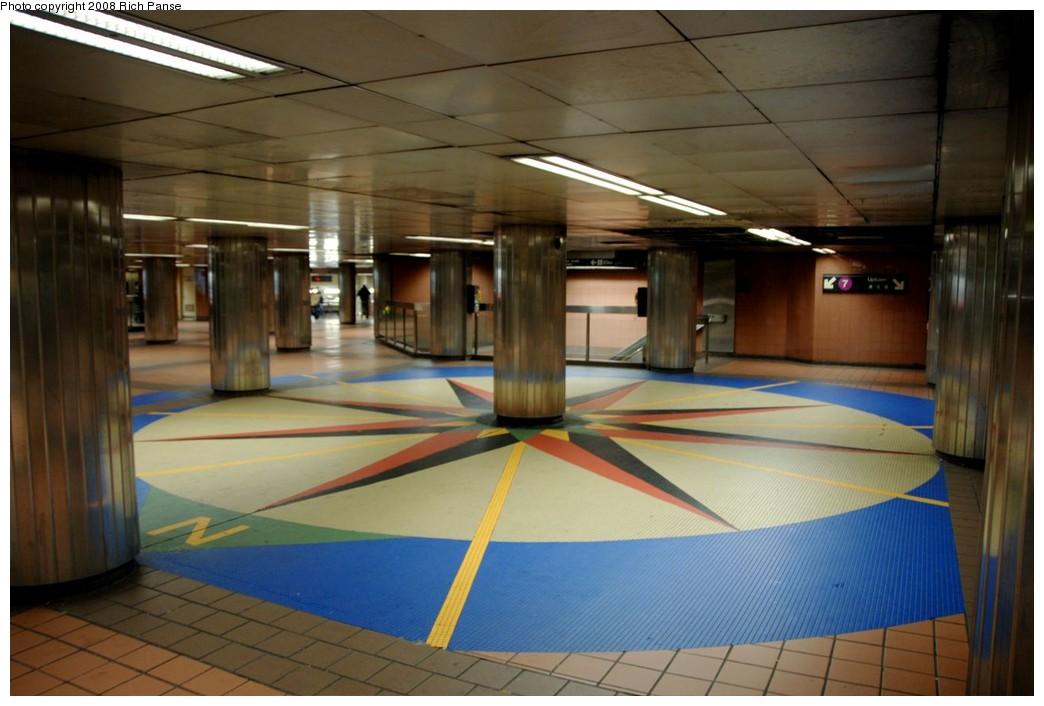 (154k, 1044x706)<br><b>Country:</b> United States<br><b>City:</b> New York<br><b>System:</b> New York City Transit<br><b>Line:</b> IRT East Side Line<br><b>Location:</b> Grand Central <br><b>Photo by:</b> Richard Panse<br><b>Date:</b> 2/16/2008<br><b>Notes:</b> Compass artwork in mezzanine.<br><b>Viewed (this week/total):</b> 2 / 1659