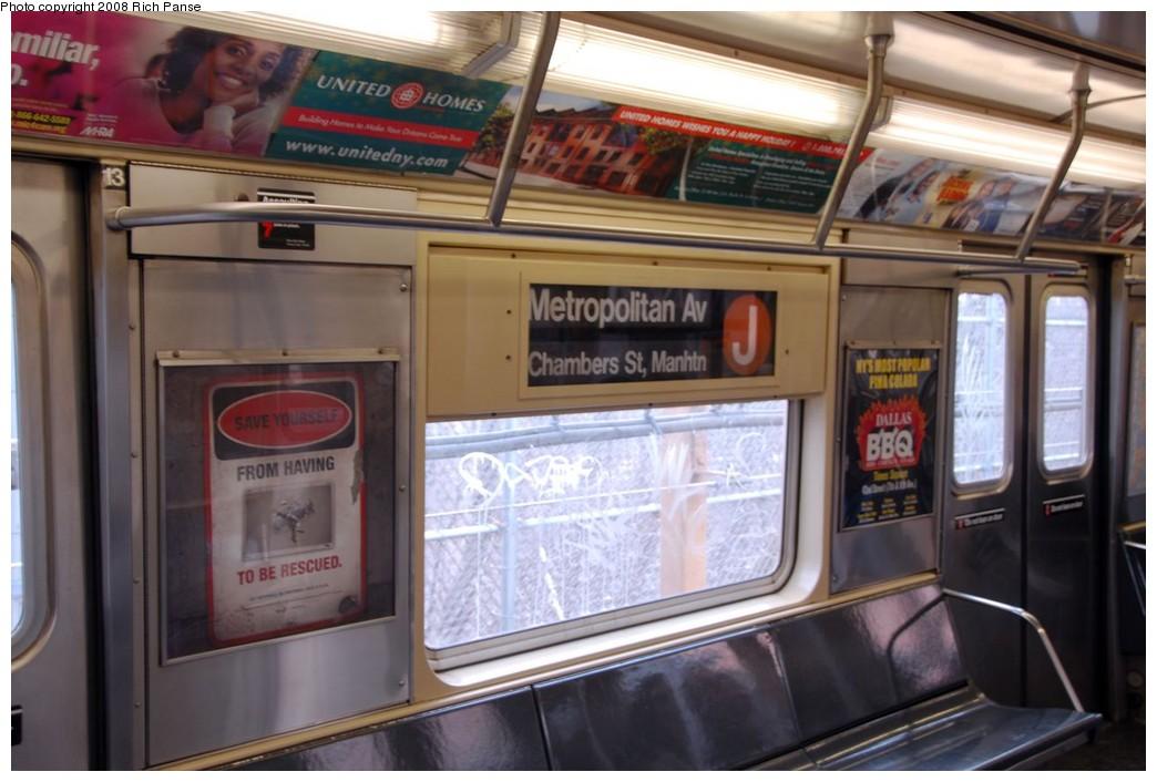 (163k, 1044x706)<br><b>Country:</b> United States<br><b>City:</b> New York<br><b>System:</b> New York City Transit<br><b>Route:</b> J reroute.<br><b>Car:</b> R-42 (St. Louis, 1969-1970)  Interior <br><b>Photo by:</b> Richard Panse<br><b>Date:</b> 2/17/2008<br><b>Viewed (this week/total):</b> 2 / 2085