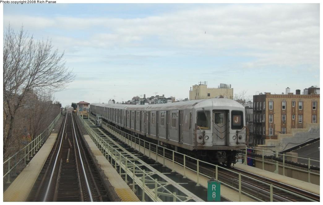 (154k, 1044x663)<br><b>Country:</b> United States<br><b>City:</b> New York<br><b>System:</b> New York City Transit<br><b>Line:</b> BMT Myrtle Avenue Line<br><b>Location:</b> Seneca Avenue <br><b>Route:</b> J reroute.<br><b>Car:</b> R-42 (St. Louis, 1969-1970)  4596 <br><b>Photo by:</b> Richard Panse<br><b>Date:</b> 2/17/2008<br><b>Viewed (this week/total):</b> 1 / 1453