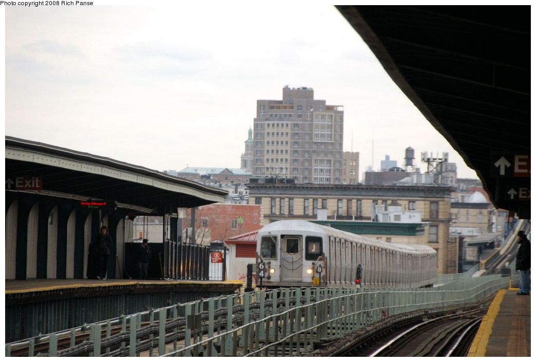(145k, 1044x706)<br><b>Country:</b> United States<br><b>City:</b> New York<br><b>System:</b> New York City Transit<br><b>Line:</b> BMT Myrtle Avenue Line<br><b>Location:</b> Central Avenue <br><b>Route:</b> J reroute.<br><b>Car:</b> R-42 (St. Louis, 1969-1970)  4588 <br><b>Photo by:</b> Richard Panse<br><b>Date:</b> 2/17/2008<br><b>Viewed (this week/total):</b> 1 / 2007