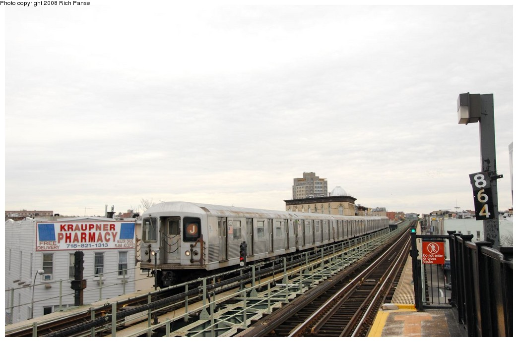 (138k, 1044x690)<br><b>Country:</b> United States<br><b>City:</b> New York<br><b>System:</b> New York City Transit<br><b>Line:</b> BMT Myrtle Avenue Line<br><b>Location:</b> Knickerbocker Avenue <br><b>Route:</b> J reroute.<br><b>Car:</b> R-42 (St. Louis, 1969-1970)  4573 <br><b>Photo by:</b> Richard Panse<br><b>Date:</b> 2/17/2008<br><b>Viewed (this week/total):</b> 3 / 1973
