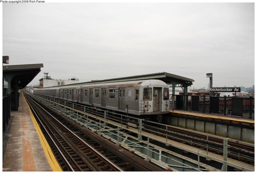 (158k, 1044x706)<br><b>Country:</b> United States<br><b>City:</b> New York<br><b>System:</b> New York City Transit<br><b>Line:</b> BMT Myrtle Avenue Line<br><b>Location:</b> Knickerbocker Avenue<br><b>Route:</b> J reroute.<br><b>Car:</b> R-42 (St. Louis, 1969-1970) 4646 <br><b>Photo by:</b> Richard Panse<br><b>Date:</b> 2/17/2008<br><b>Viewed (this week/total):</b> 1 / 2123