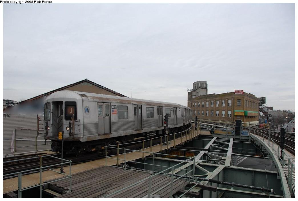 (144k, 1044x706)<br><b>Country:</b> United States<br><b>City:</b> New York<br><b>System:</b> New York City Transit<br><b>Line:</b> BMT Myrtle Avenue Line<br><b>Location:</b> Wyckoff Avenue <br><b>Route:</b> J reroute.<br><b>Car:</b> R-42 (St. Louis, 1969-1970)  4782 <br><b>Photo by:</b> Richard Panse<br><b>Date:</b> 2/17/2008<br><b>Viewed (this week/total):</b> 0 / 1855