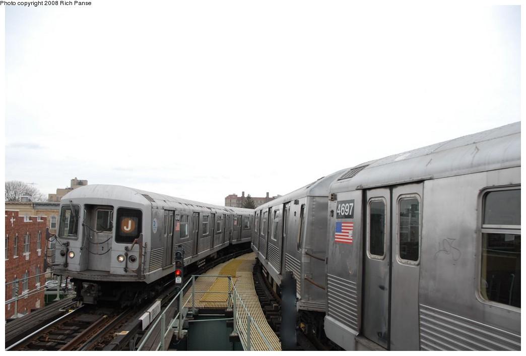 (116k, 1044x706)<br><b>Country:</b> United States<br><b>City:</b> New York<br><b>System:</b> New York City Transit<br><b>Line:</b> BMT Myrtle Avenue Line<br><b>Location:</b> Seneca Avenue <br><b>Route:</b> J reroute.<br><b>Car:</b> R-42 (St. Louis, 1969-1970)  4749/4697 <br><b>Photo by:</b> Richard Panse<br><b>Date:</b> 2/17/2008<br><b>Viewed (this week/total):</b> 1 / 1622