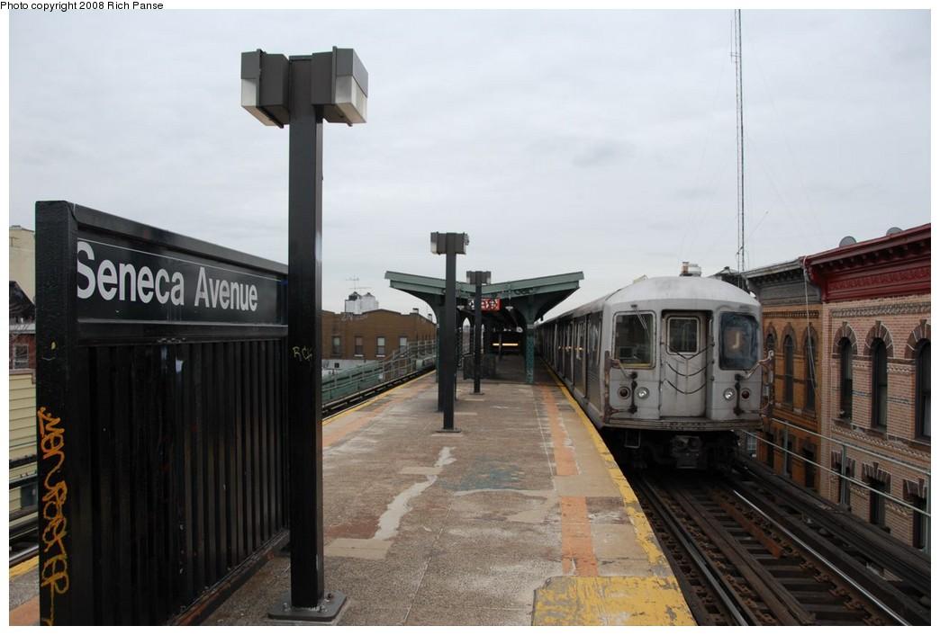 (176k, 1044x706)<br><b>Country:</b> United States<br><b>City:</b> New York<br><b>System:</b> New York City Transit<br><b>Line:</b> BMT Myrtle Avenue Line<br><b>Location:</b> Seneca Avenue <br><b>Route:</b> J reroute.<br><b>Car:</b> R-42 (St. Louis, 1969-1970)  4622 <br><b>Photo by:</b> Richard Panse<br><b>Date:</b> 2/17/2008<br><b>Viewed (this week/total):</b> 0 / 1498