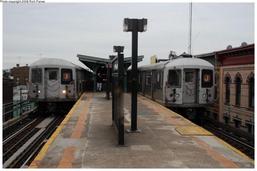 (160k, 1044x697)<br><b>Country:</b> United States<br><b>City:</b> New York<br><b>System:</b> New York City Transit<br><b>Line:</b> BMT Myrtle Avenue Line<br><b>Location:</b> Seneca Avenue <br><b>Route:</b> J reroute.<br><b>Car:</b> R-42 (St. Louis, 1969-1970)  4775/4691 <br><b>Photo by:</b> Richard Panse<br><b>Date:</b> 2/17/2008<br><b>Viewed (this week/total):</b> 1 / 1735
