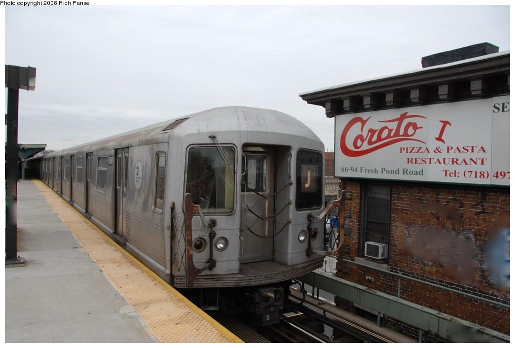 (148k, 1044x706)<br><b>Country:</b> United States<br><b>City:</b> New York<br><b>System:</b> New York City Transit<br><b>Line:</b> BMT Myrtle Avenue Line<br><b>Location:</b> Fresh Pond Road <br><b>Route:</b> J reroute.<br><b>Car:</b> R-42 (St. Louis, 1969-1970)  4588 <br><b>Photo by:</b> Richard Panse<br><b>Date:</b> 2/17/2008<br><b>Viewed (this week/total):</b> 3 / 1996