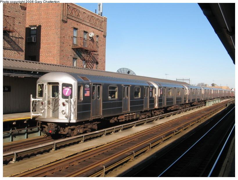 (164k, 820x620)<br><b>Country:</b> United States<br><b>City:</b> New York<br><b>System:</b> New York City Transit<br><b>Line:</b> IRT Flushing Line<br><b>Location:</b> 52nd Street/Lincoln Avenue <br><b>Route:</b> 7<br><b>Car:</b> R-62A (Bombardier, 1984-1987)  1736 <br><b>Photo by:</b> Gary Chatterton<br><b>Date:</b> 2/14/2008<br><b>Viewed (this week/total):</b> 1 / 1461