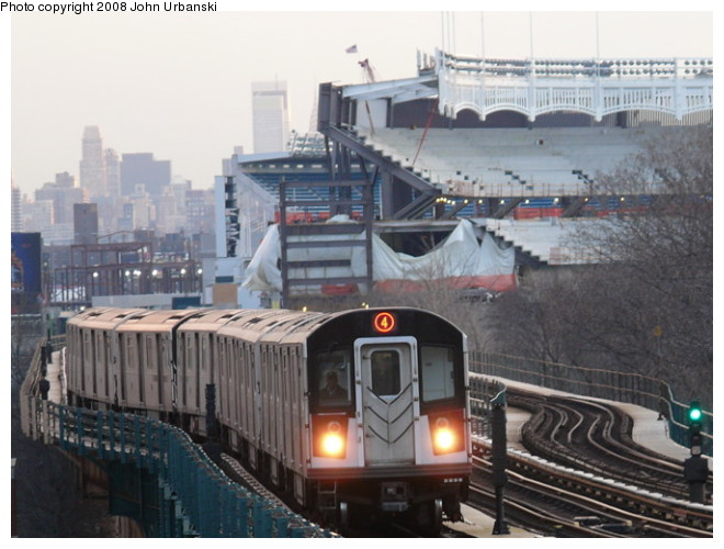 (91k, 660x500)<br><b>Country:</b> United States<br><b>City:</b> New York<br><b>System:</b> New York City Transit<br><b>Line:</b> IRT Woodlawn Line<br><b>Location:</b> 161st Street/River Avenue (Yankee Stadium) <br><b>Route:</b> 4<br><b>Car:</b> R-142 or R-142A (Number Unknown)  <br><b>Photo by:</b> John Urbanski<br><b>Date:</b> 2/19/2008<br><b>Viewed (this week/total):</b> 0 / 3349