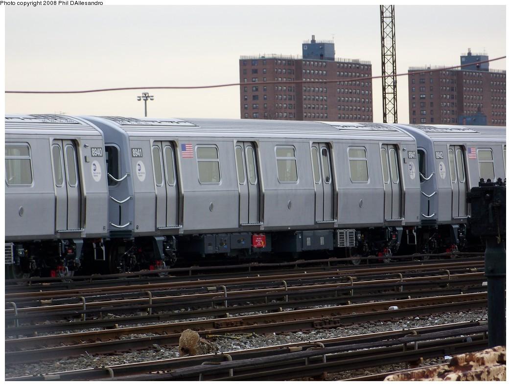 (213k, 1044x788)<br><b>Country:</b> United States<br><b>City:</b> New York<br><b>System:</b> New York City Transit<br><b>Location:</b> Coney Island Yard<br><b>Car:</b> R-160B (Kawasaki, 2005-2008)  8941 <br><b>Photo by:</b> Philip D'Allesandro<br><b>Date:</b> 2/20/2008<br><b>Viewed (this week/total):</b> 0 / 1161