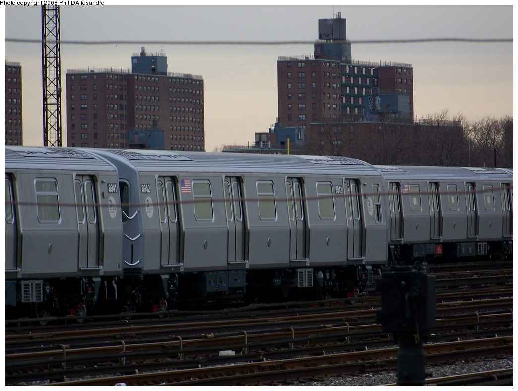 (190k, 1044x788)<br><b>Country:</b> United States<br><b>City:</b> New York<br><b>System:</b> New York City Transit<br><b>Location:</b> Coney Island Yard<br><b>Car:</b> R-160B (Kawasaki, 2005-2008)  8942 <br><b>Photo by:</b> Philip D'Allesandro<br><b>Date:</b> 2/20/2008<br><b>Viewed (this week/total):</b> 1 / 1455