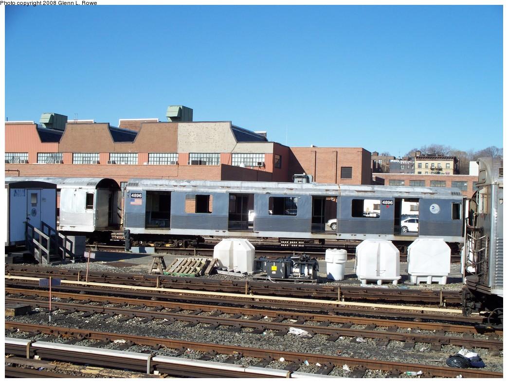 (259k, 1044x788)<br><b>Country:</b> United States<br><b>City:</b> New York<br><b>System:</b> New York City Transit<br><b>Location:</b> 207th Street Yard<br><b>Car:</b> R-42 (St. Louis, 1969-1970)  4896 <br><b>Photo by:</b> Glenn L. Rowe<br><b>Date:</b> 2/21/2008<br><b>Viewed (this week/total):</b> 0 / 1193