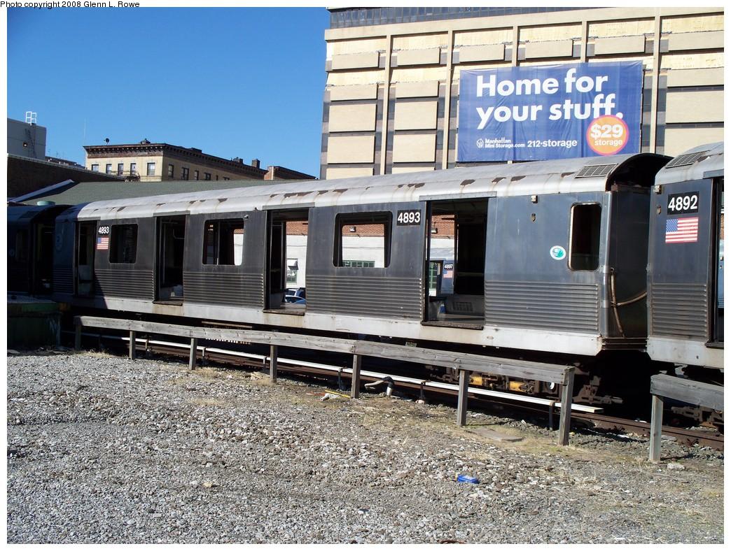 (321k, 1044x788)<br><b>Country:</b> United States<br><b>City:</b> New York<br><b>System:</b> New York City Transit<br><b>Location:</b> 207th Street Yard<br><b>Car:</b> R-42 (St. Louis, 1969-1970)  4893 <br><b>Photo by:</b> Glenn L. Rowe<br><b>Date:</b> 2/21/2008<br><b>Viewed (this week/total):</b> 5 / 1320