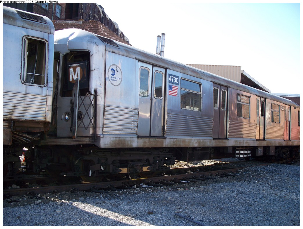 (243k, 1044x788)<br><b>Country:</b> United States<br><b>City:</b> New York<br><b>System:</b> New York City Transit<br><b>Location:</b> 207th Street Yard<br><b>Car:</b> R-42 (St. Louis, 1969-1970)  4730 <br><b>Photo by:</b> Glenn L. Rowe<br><b>Date:</b> 2/21/2008<br><b>Viewed (this week/total):</b> 0 / 1585
