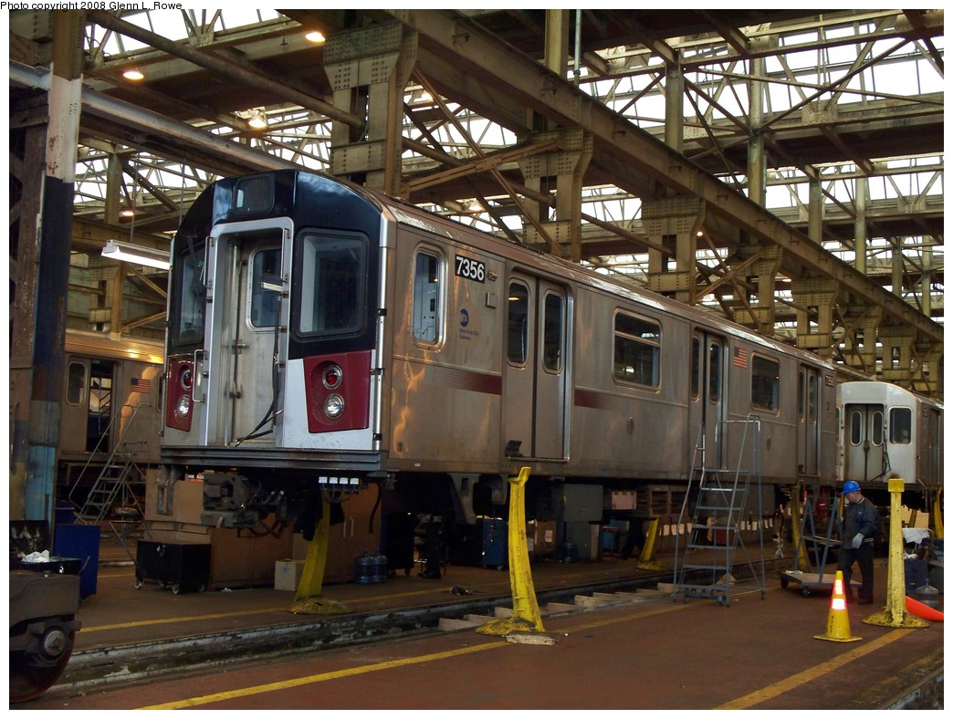 (259k, 1044x788)<br><b>Country:</b> United States<br><b>City:</b> New York<br><b>System:</b> New York City Transit<br><b>Location:</b> 207th Street Shop<br><b>Car:</b> R-142A (Primary Order, Kawasaki, 1999-2002)  7356 <br><b>Photo by:</b> Glenn L. Rowe<br><b>Date:</b> 2/21/2008<br><b>Viewed (this week/total):</b> 1 / 2738