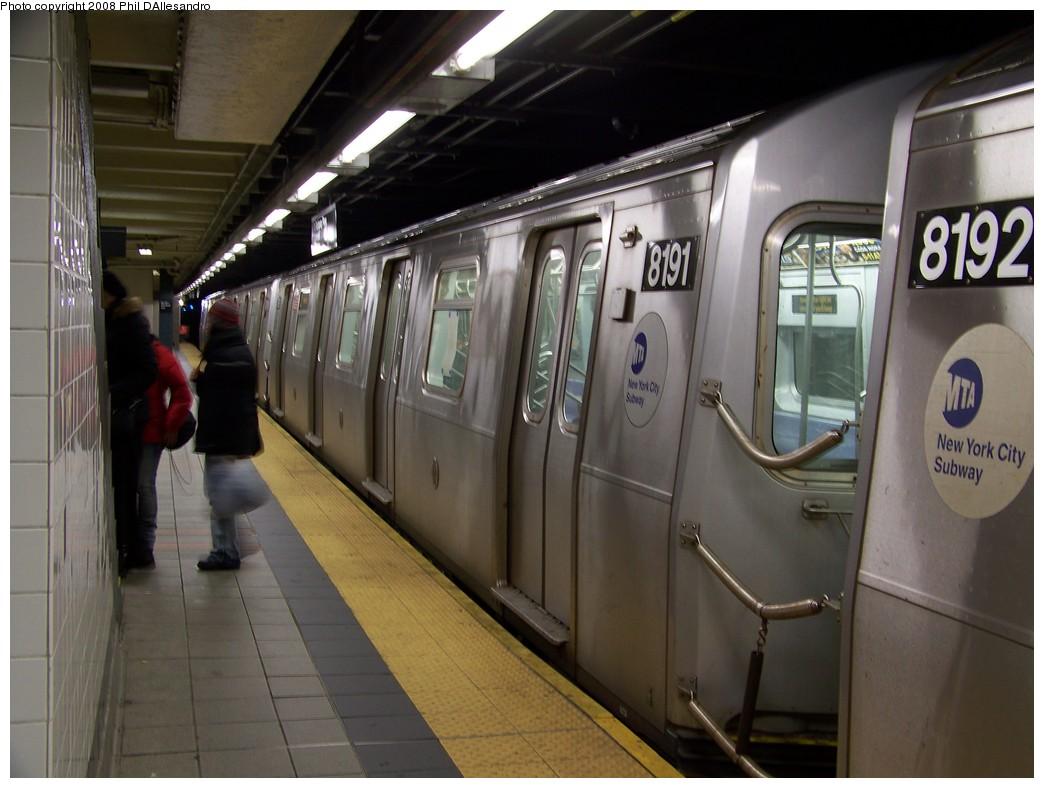 (186k, 1044x788)<br><b>Country:</b> United States<br><b>City:</b> New York<br><b>System:</b> New York City Transit<br><b>Line:</b> BMT Canarsie Line<br><b>Location:</b> Myrtle Avenue <br><b>Route:</b> L<br><b>Car:</b> R-143 (Kawasaki, 2001-2002) 8191 <br><b>Photo by:</b> Philip D'Allesandro<br><b>Date:</b> 2/22/2008<br><b>Viewed (this week/total):</b> 0 / 2501